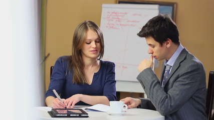 Businessman businesswoman finding solution discussing business
