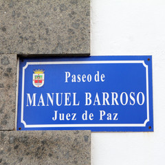 street sign on Canary Islands: Paseo de Manuel Barroso
