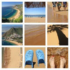 famous beach : Playa de Las Teresitas on Tenerife  - collage