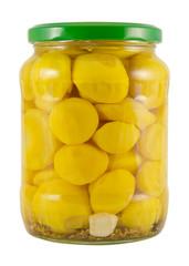 pickled decorative patisson  jar on white