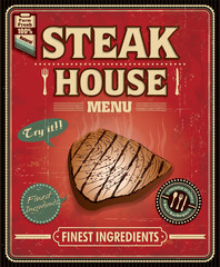 Vintage fish steak house poster design