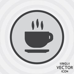 Single vector monochrome flat icon. Hot tea.