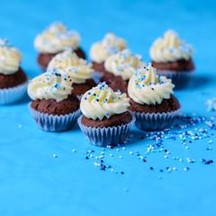 Schokocupcakes mit Topping auf Sojabasis