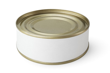 Small tin can with blank label isolated on white