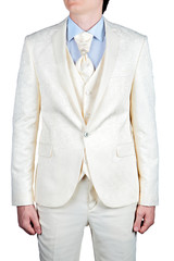 Male cream-colored suit, evening or wedding