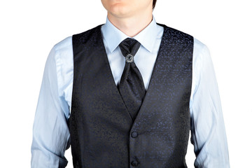 Dark blue men waistcoat with jacquard pattern