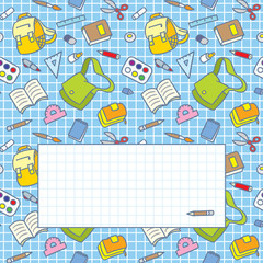 Greeting card with education supplies and window