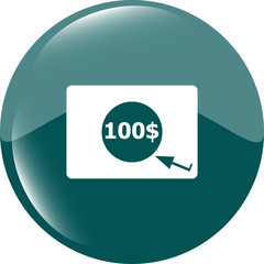 glossy money bag icon with dollars for web applications