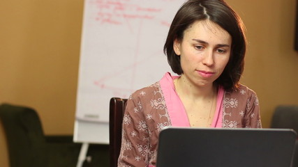 Woman browsing internet looks for business opportunity freelance