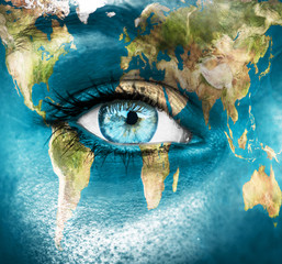 """Planet earth and blue human eye - """"Elements of this image furnis"""