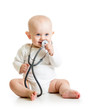 cute baby boy with stethoscope in hands