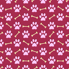 pink paw print repeat background