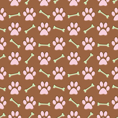 brown paw print repeat background