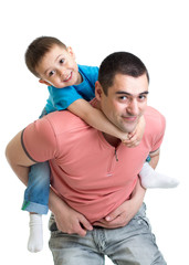 happy father holding kid on his back isolated on white