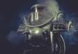 robot man in space armor silver