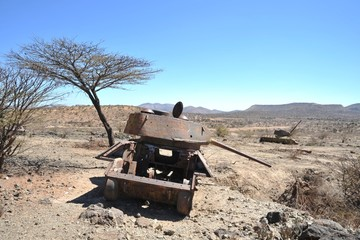 Wrecked tanks T - 34 in the Somali