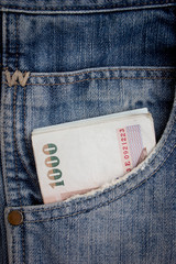 1000 baht bill in jean pocket,Thailand money
