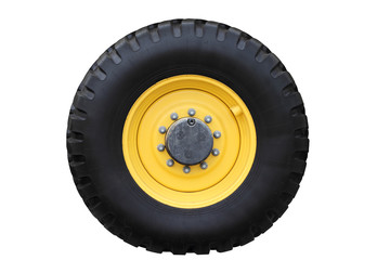 Yellow tractor wheel.