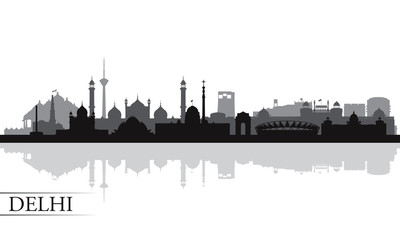 Delhi city skyline silhouette background