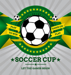 Vector Soccer Emblem with Geometric Background.