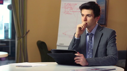 Concerned business man solving problems thinking, finds solution