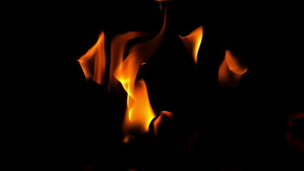 Flames burning on black background