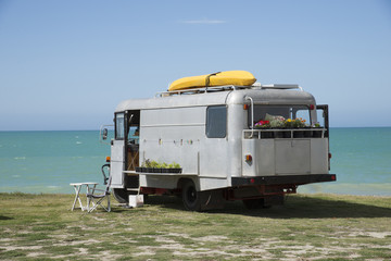 Campervan overlooking the Pacifice Ocean Hawkes Bay New Zealand