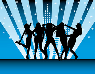 vector silhouettes of beautiful women on a blue background