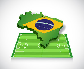 soccer in brazil. map and field illustration