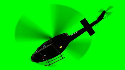 FBI Helicopter Bell UH in flight - close up - green screen