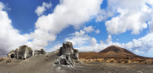 Strange formations of the volcanic landscape of Lanzarote.