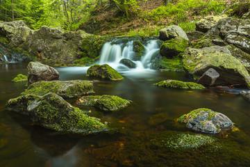 Waterfall cascadein the river La Hoegne
