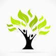 Abstract logo with green tree of life