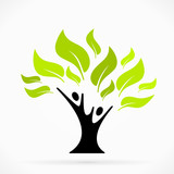 Fototapety Abstract logo with green tree of life