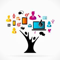 Abstract logo with social media tree