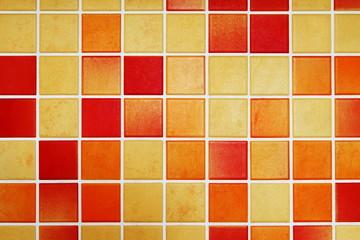 Küchenfliesen, rot, orange, Mosaik, Hintergrund