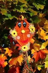 Drache hängend im bunten Herbstlaub
