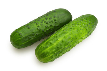 Two cucumbers on a white background