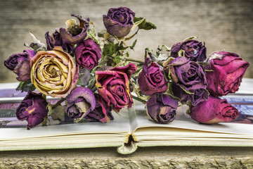 Bouquet of dried roses on old book