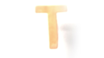 The letter t rising on white background