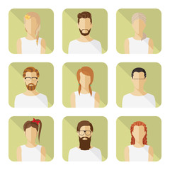 Man and woman vector avatar set in modern flat style.