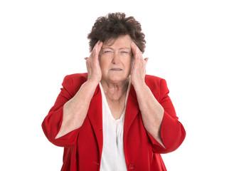 Patient: ältere Frau isoliert mit Migräne Schmerzen