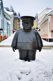 Sculpture of a policeman in Oulu, Finland