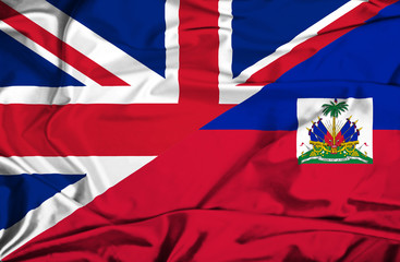 Waving flag of Haiti and UK