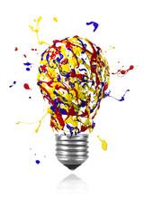 Yellow blue red paint splah made light bulb