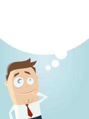 nachdenken denkblase hintergrund mann business