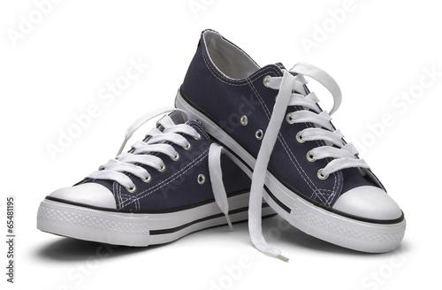 Leinwandbild Motiv Blue Canvas Shoes