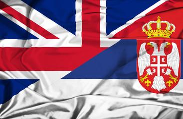 Waving flag of Serbia and UK
