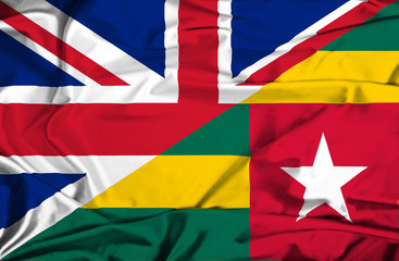 Waving flag of Togo and UK