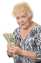 The elderly woman with dollars